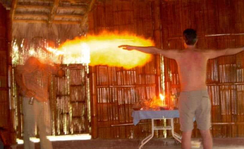 Fire being blown out of the Shaman's mouth to heal the energetic body